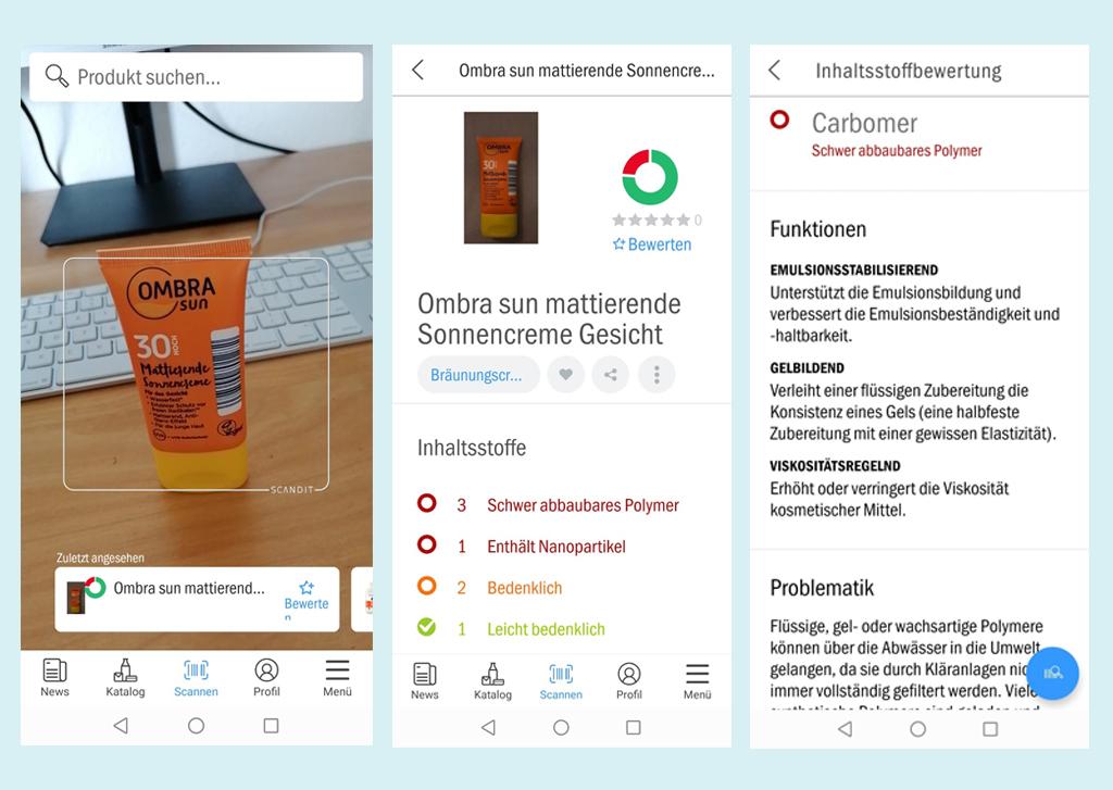 Screenshots der App