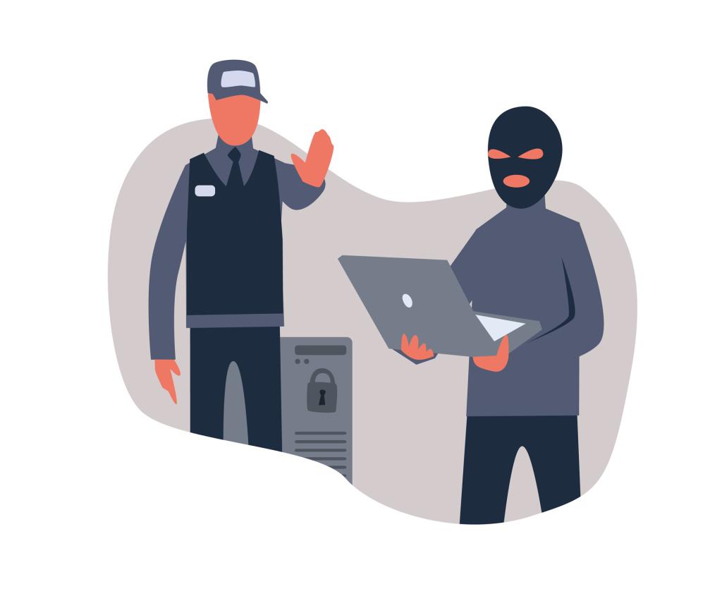 Zeichnung eines Polizisten, der einen PC vor einem Angriff schützt
