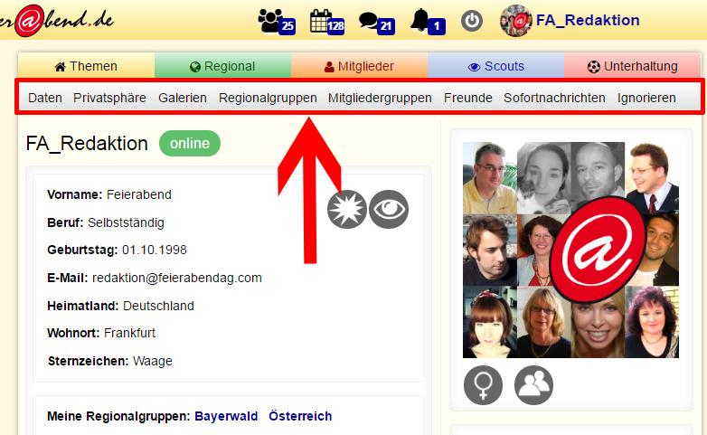 Screenshot graue Leiste im Profil