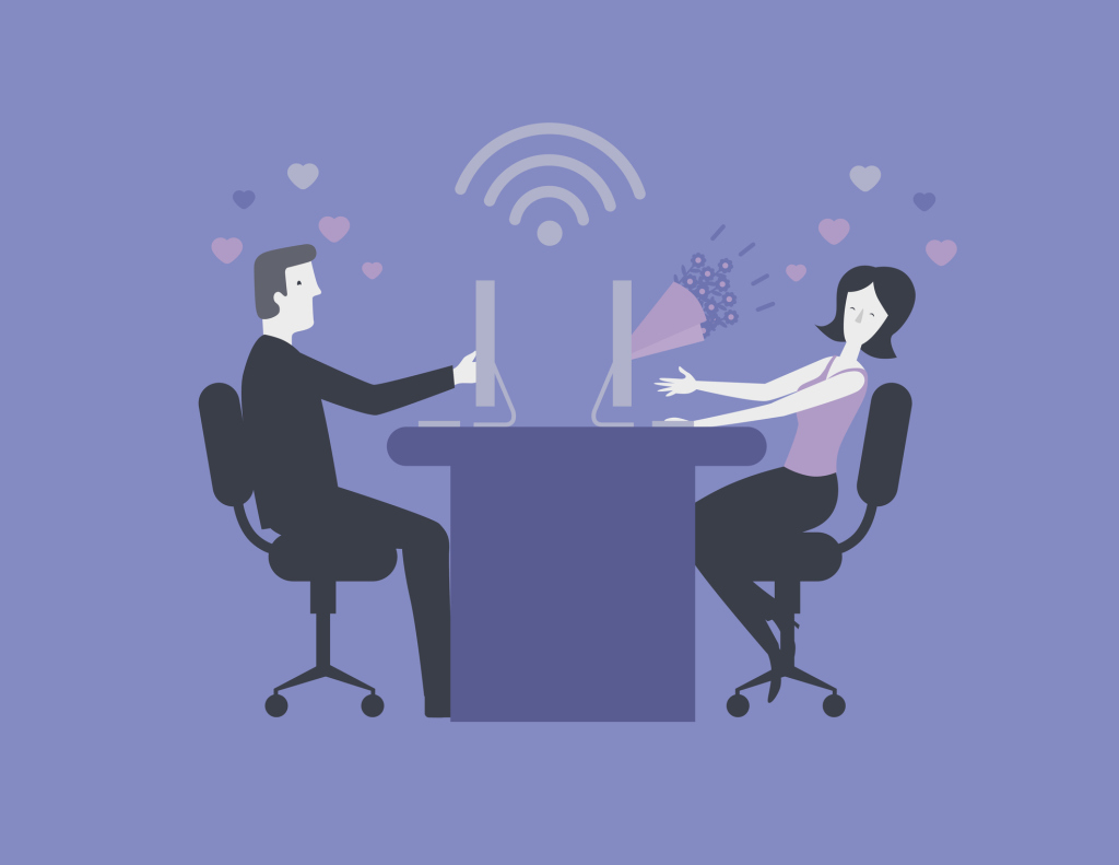 Illustration zwei Personen am PC