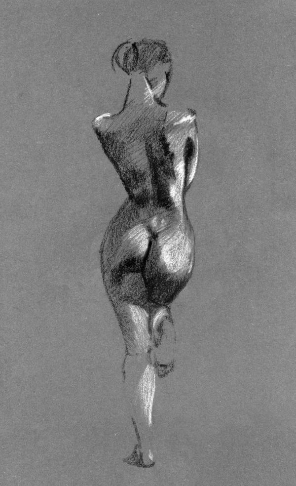 Skizze einer nackten Frau von hinten