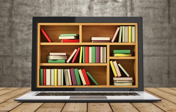 Bibliothek in einem Laptop-Bildschirm