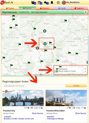 Screenshot Regionalseite