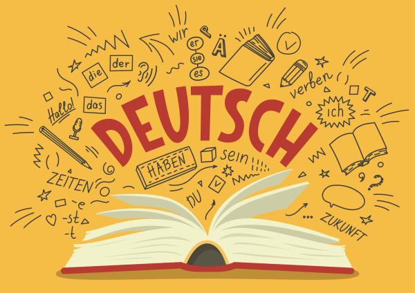 Deutsch-Schriftzug mit Buch auf einem gelben Hintergrund