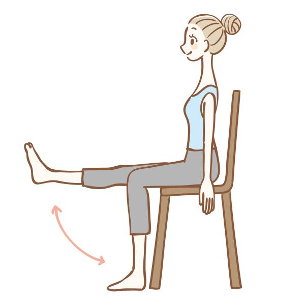 Illustration einer Gymnastikübung auf einem Stuhl sitzend