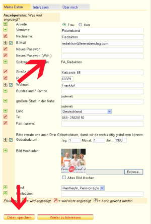 Screenshot E-Mail ändern